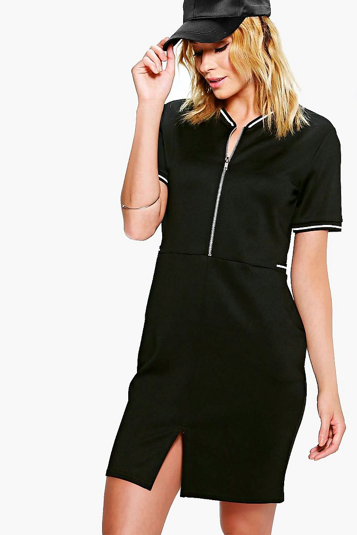 Lucy Sports Trim Zip Front Bomber Dress