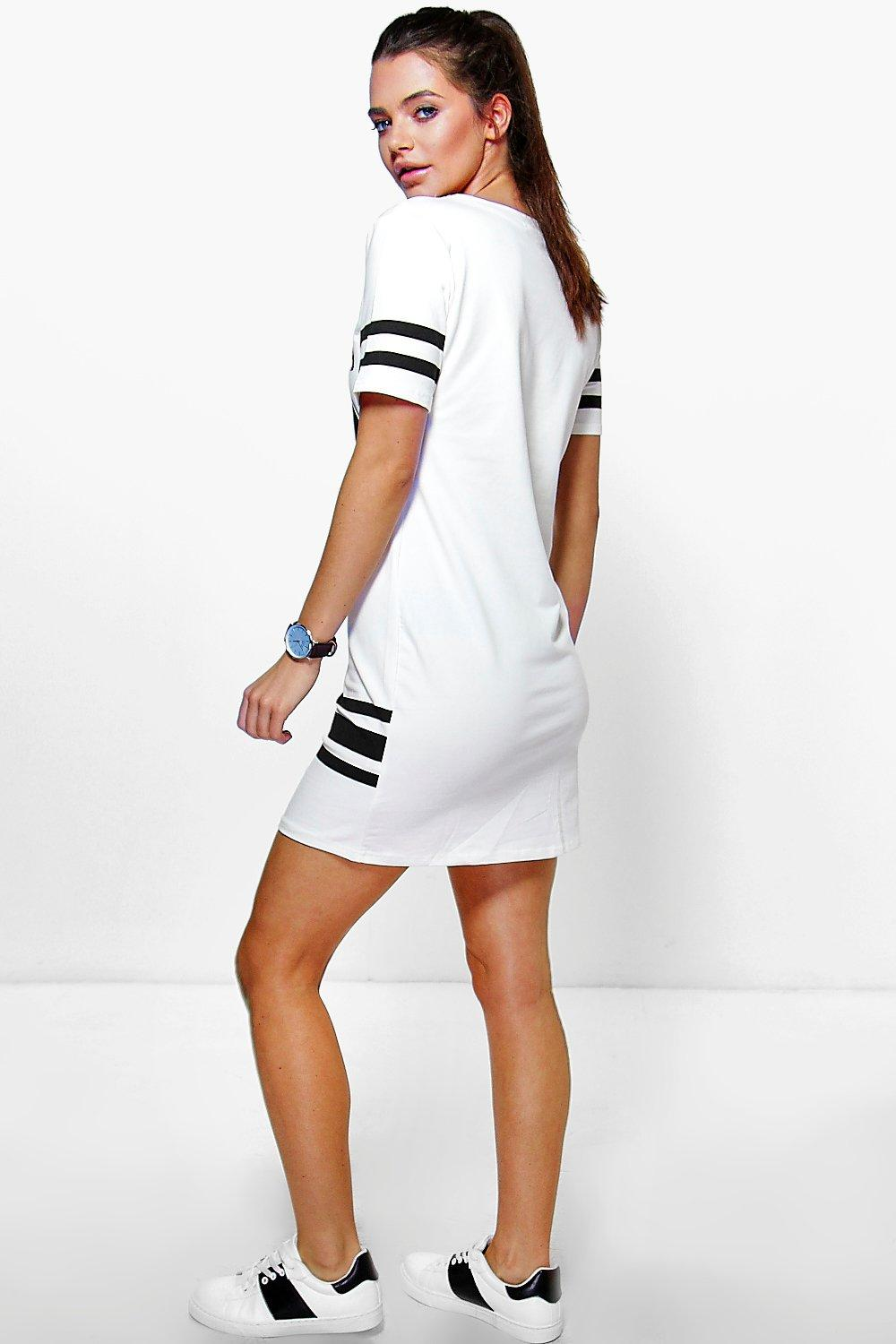 Boohoo womens felicity sports printed t shirt dress ebay for Sporty t shirt dress
