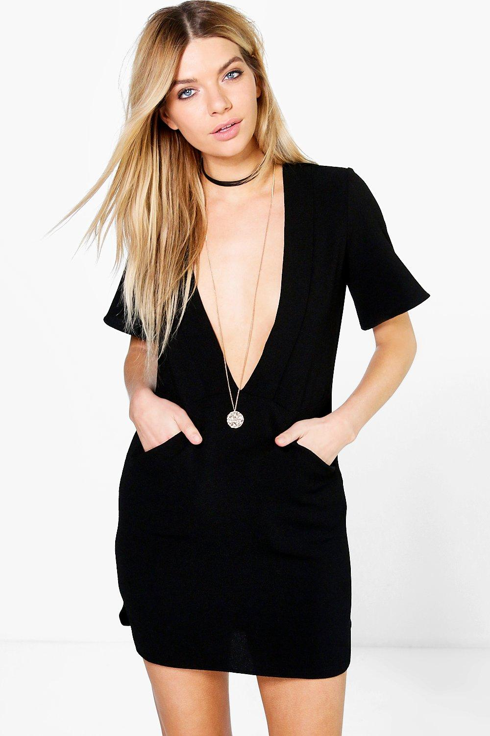 Sinead Deep Plunge Cap Sleeve Shift Dress