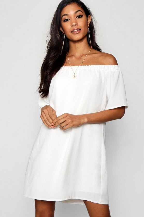 Frill Off Shoulder Shift Dress
