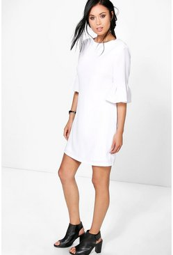 Reema Frill Sleeve Cross Back Shift Dress