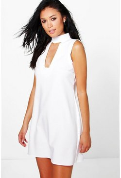 Sonya High Neck Cut Out Sleeveless Shirt Dress