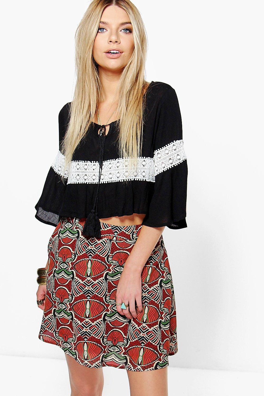 Bohemian Print Woven Skater Skirt rust