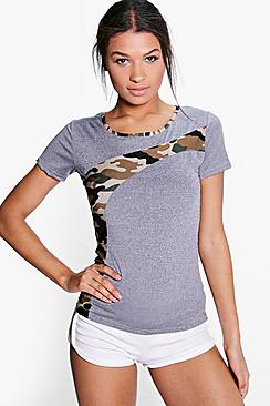 Brooke Camo Panel Running Tee