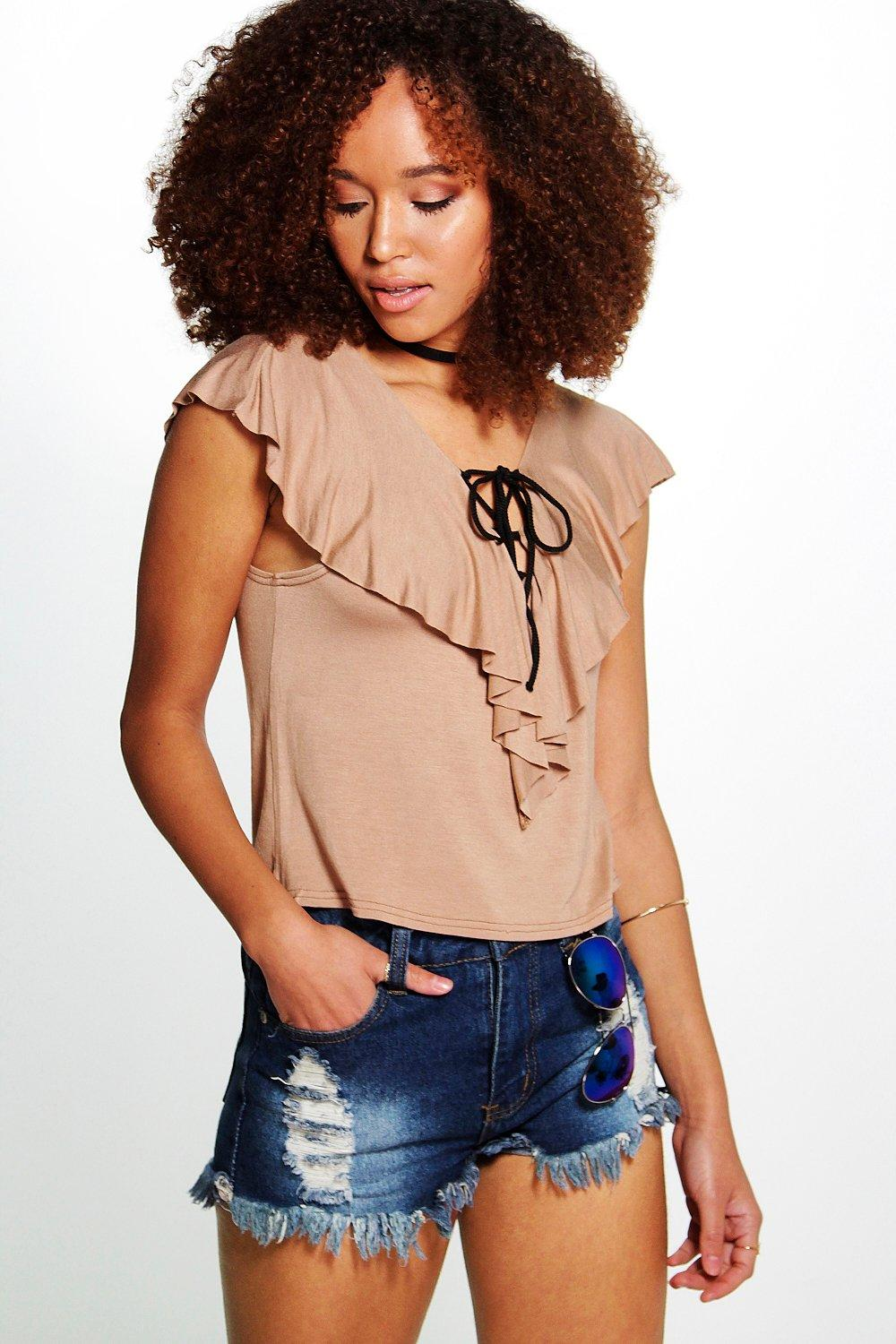 Ruby Lace Up Frill Detail Top