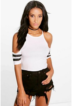 Sophie Baseball Cold Shoulder Crop