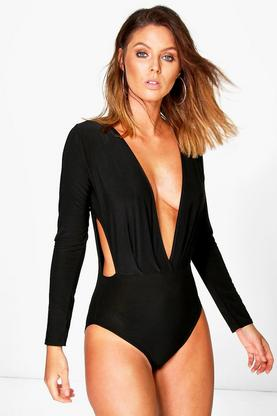 Heidi Pleat Wrap Cut Out Long Sleeve Body