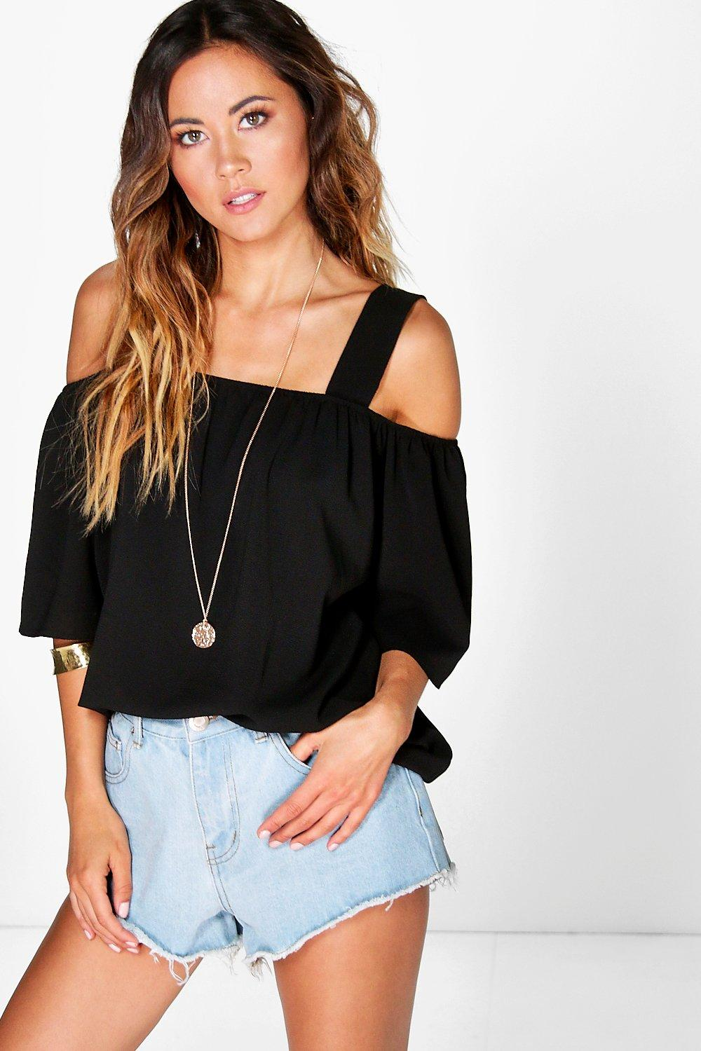 Cold Shoulder Woven Top black