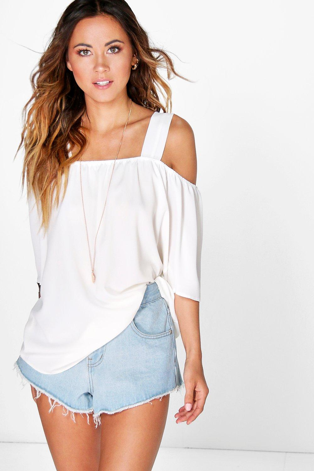 Cold Shoulder Woven Top ivory