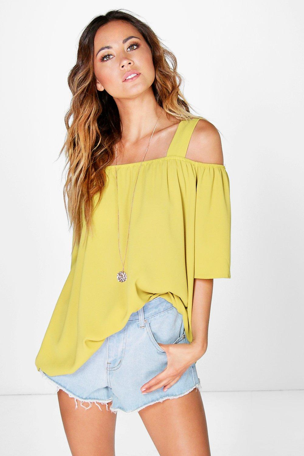 Cold Shoulder Woven Top lime