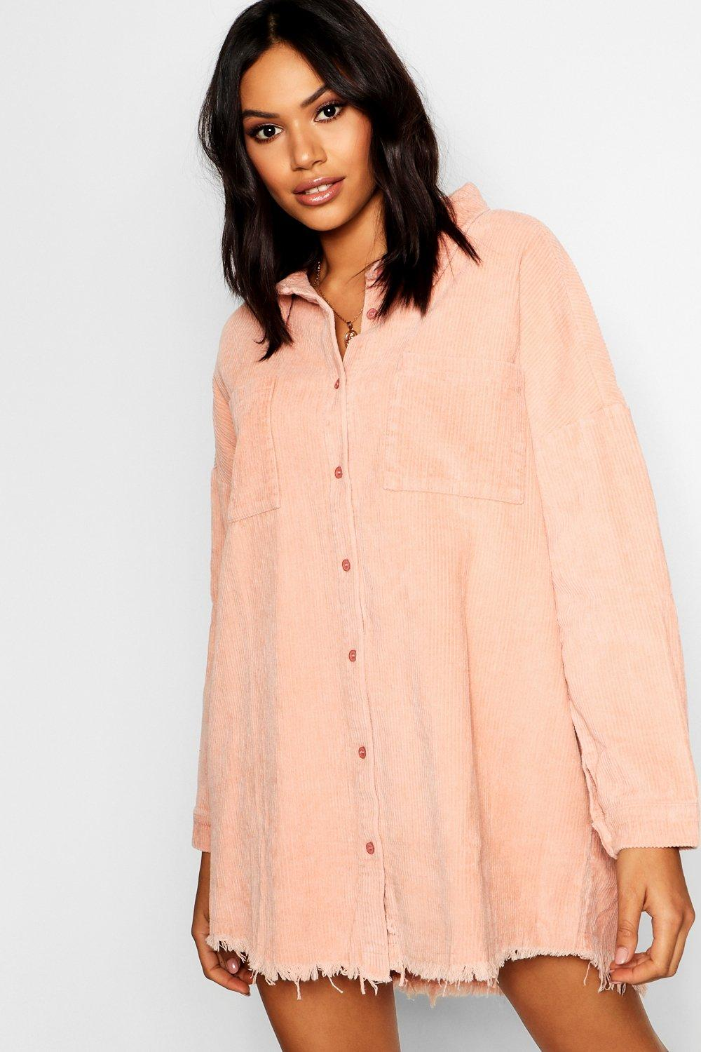 Nicole Raw Edge Oversized Cord Shirt