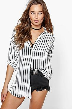 Erin Striped Zip Detail Shirt