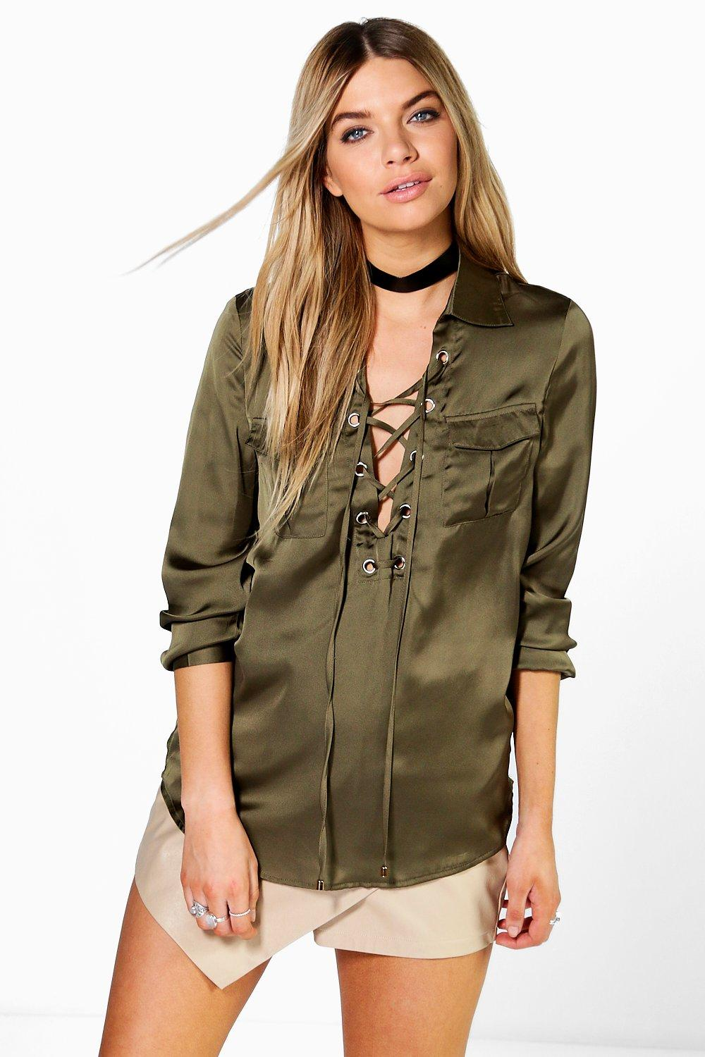 Alice Lace Up Silky Pocket Shirt