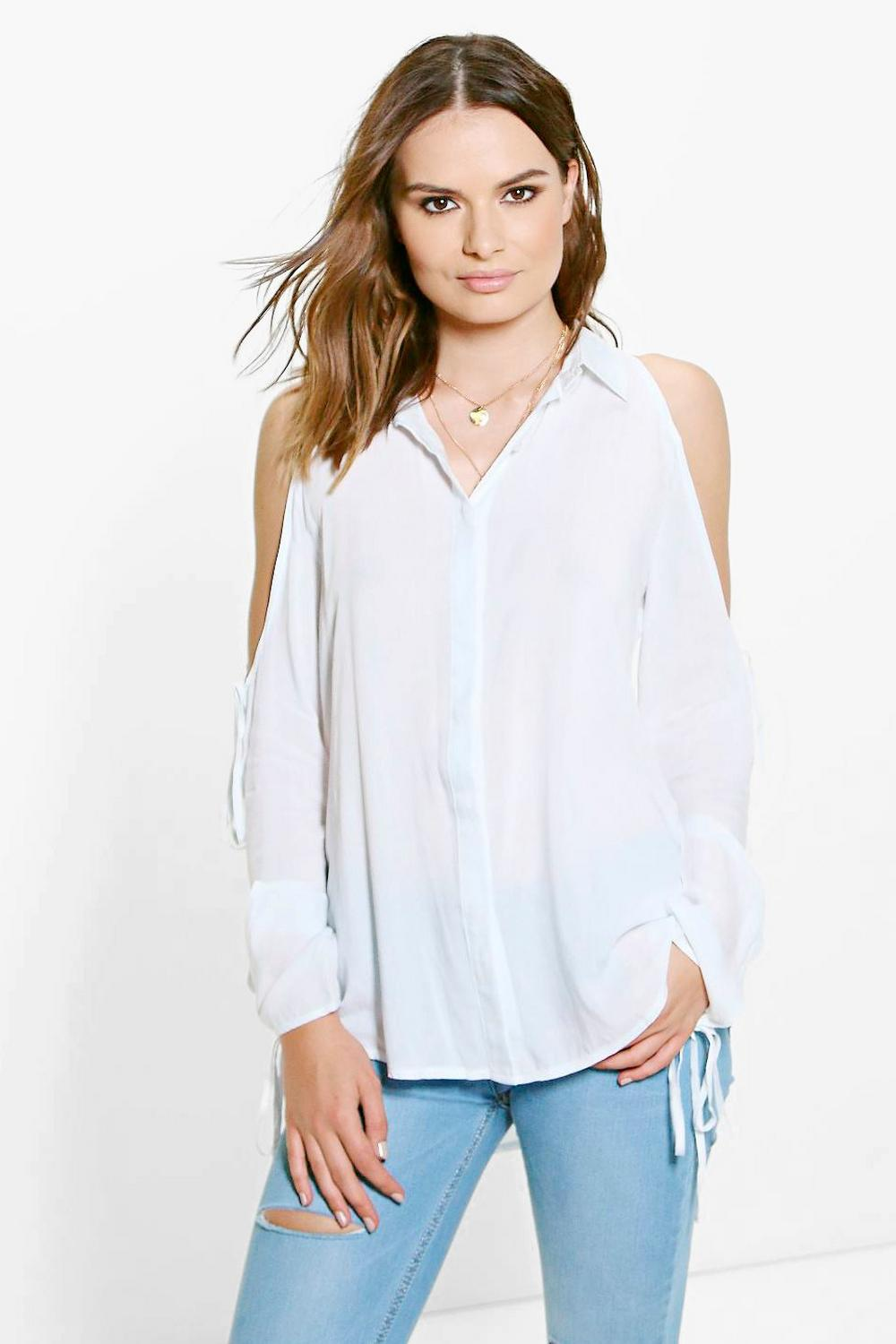 Katie Open Shoulder Longline Shirt