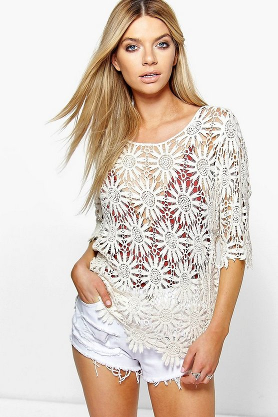 Polly Floral Crochet Short Sleeve Top
