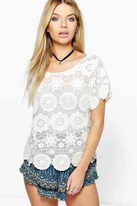 Casey Lace Oversized Top