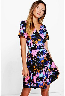Sadie Woven Wrap Front Floral Print Dress