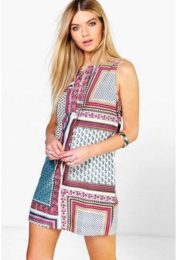 Belle Woven Print Lace Up Dress
