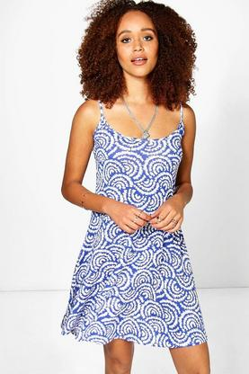 Kiki Tile Printed Swing Dress