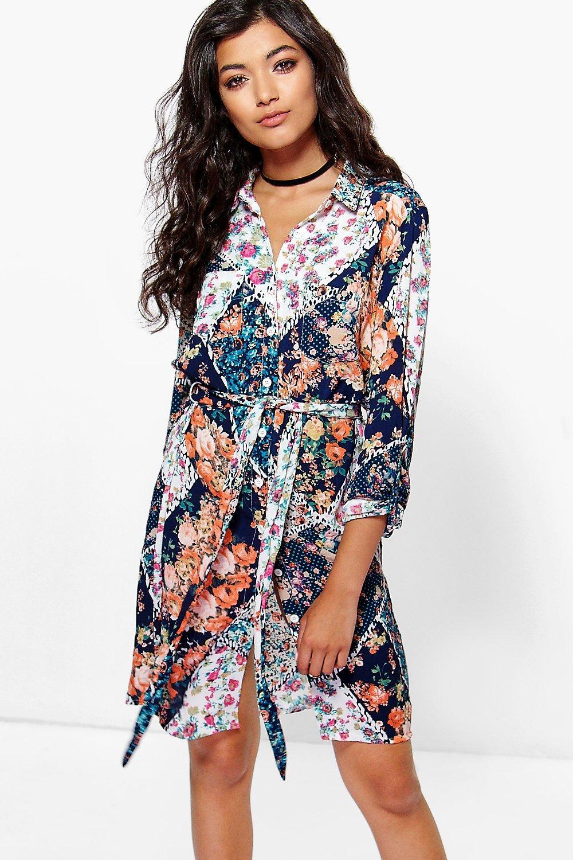 Floral Crepe Pocket Front Shirt Dress blue