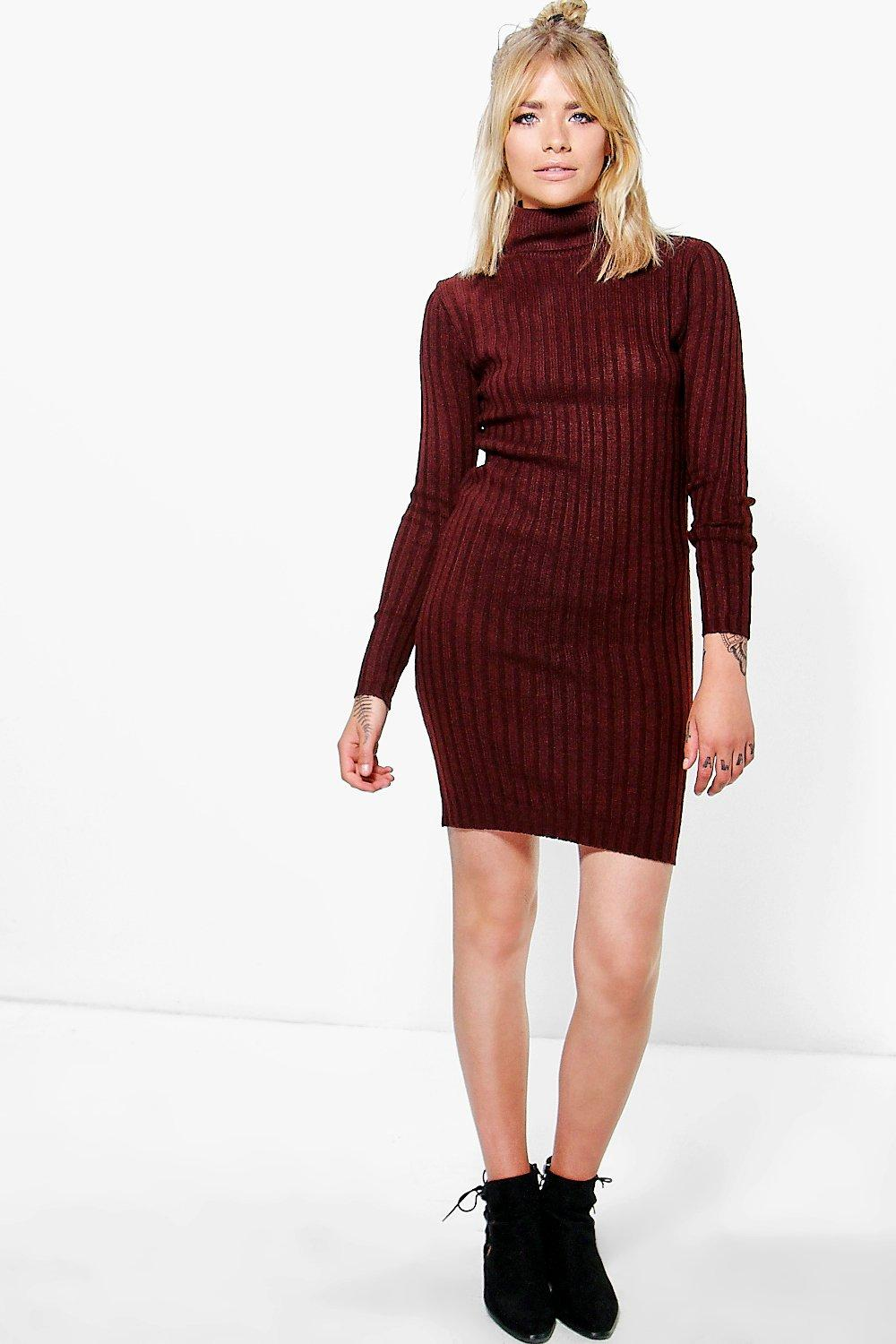Esme Roll Neck Rib Knit Mini Dress