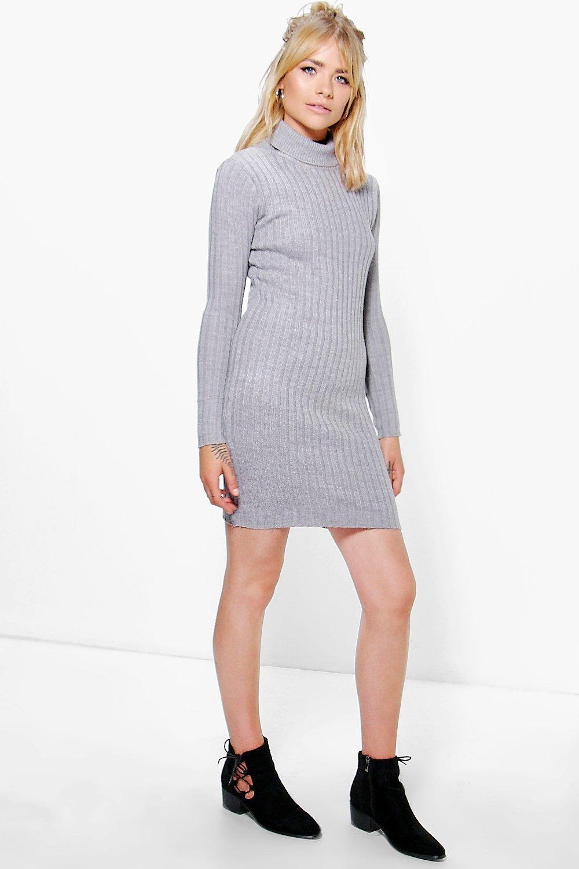 Roll Neck Rib Knit Mini Dress  grey
