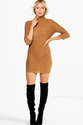 Eloise Roll Sleeve Knitted Dress