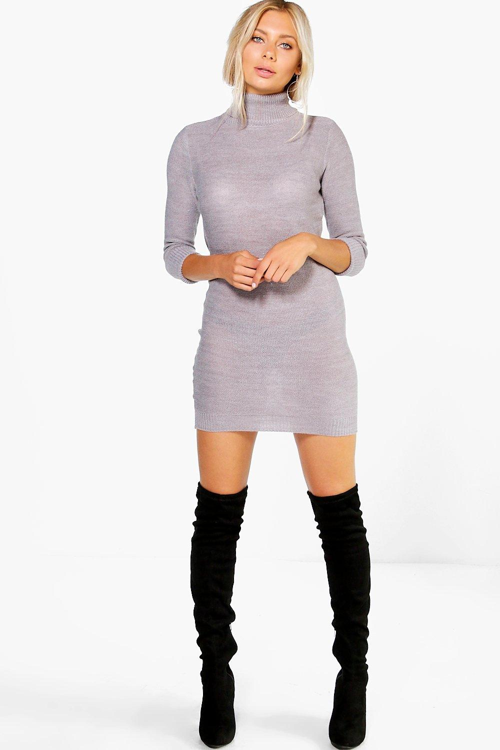 Roll Sleeve Knitted Dress - grey