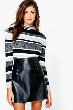 Eva Metallic Stitch Stripe Rib Knit Jumper