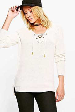 Alicia Lace Up Knit Jumper