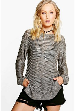 Abigail Metallic Loose Knit Jumper