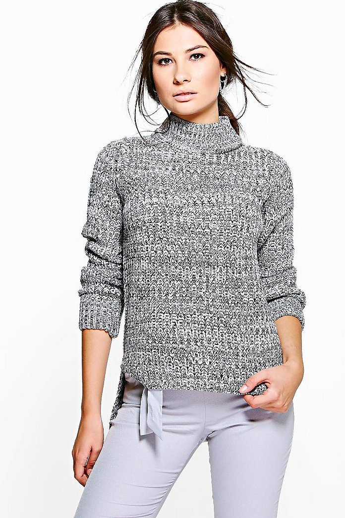 Alexis Marl Knit Step Hem Jumper