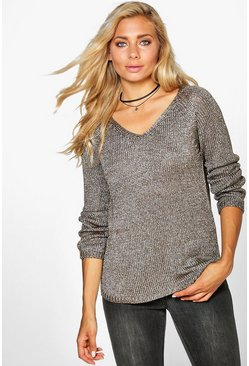 Amy Metallic Stitch Oversized Jumper
