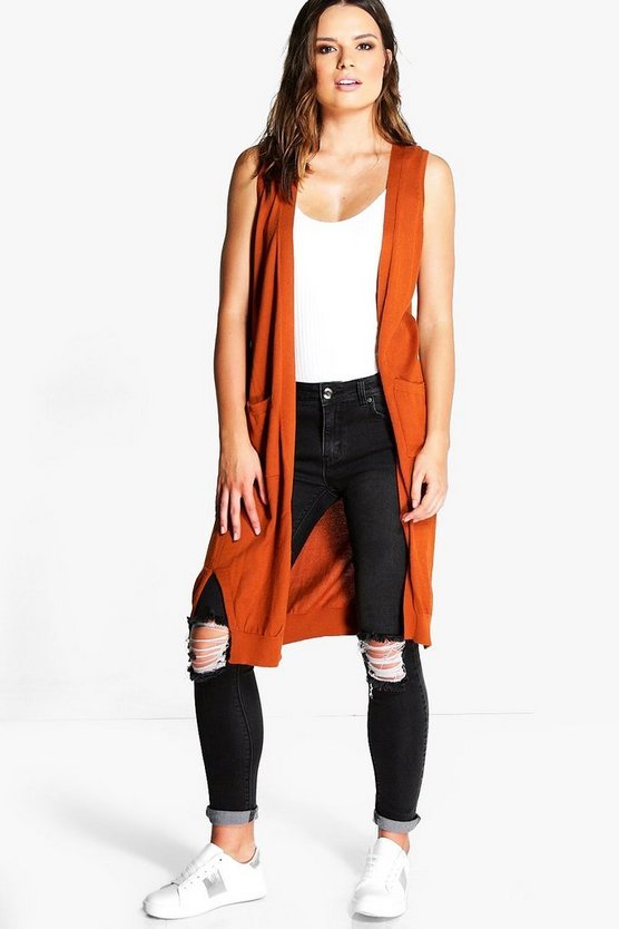 Maria Sleeveless Fine Knit Cardigan