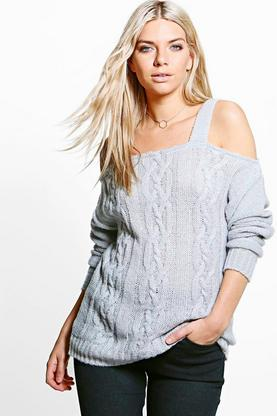 Mia Strap Open Shoulder Cable Knit Jumper