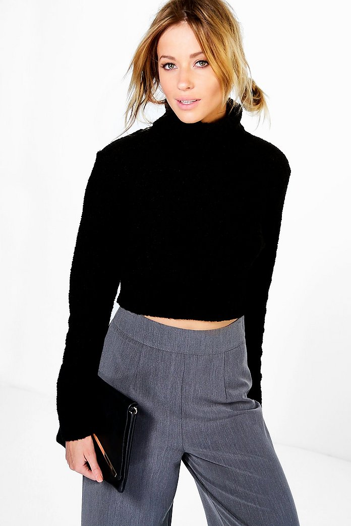 Nicole Boucle Roll Neck Crop Jumper