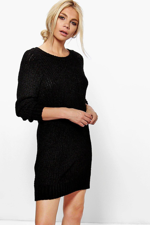 Boucle Knit Mini Dress  black