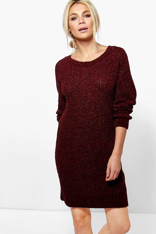 Boucle Knit Mini Dress  burgundy