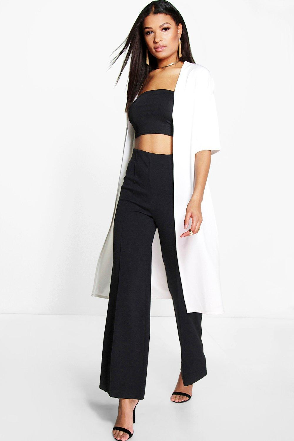 Faye Collarless 3/4 Sleeve Duster