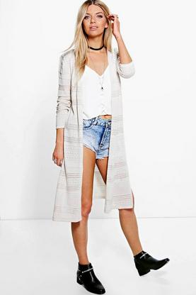 Eve Side Split Pointelle Festival Cardigan