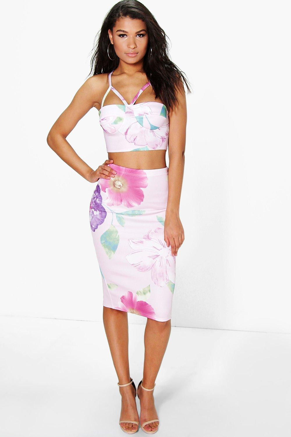 Beci Floral Bodice And Midi Skirt Co-Ord