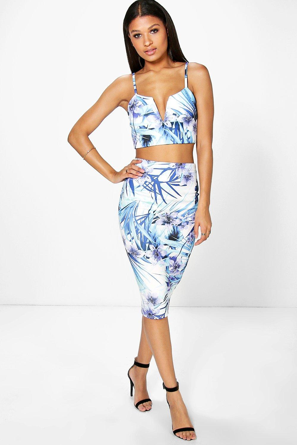 Niamh Tropical Print Crop And Midi Skirt Co-Ord