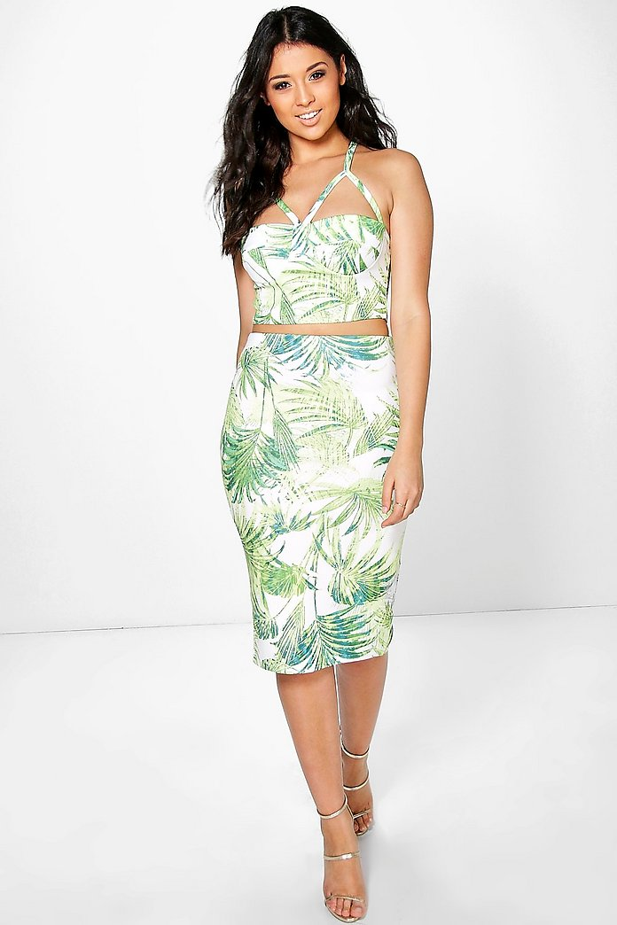 Grace Tropical Bodice And Midi Skirt Co-Ord