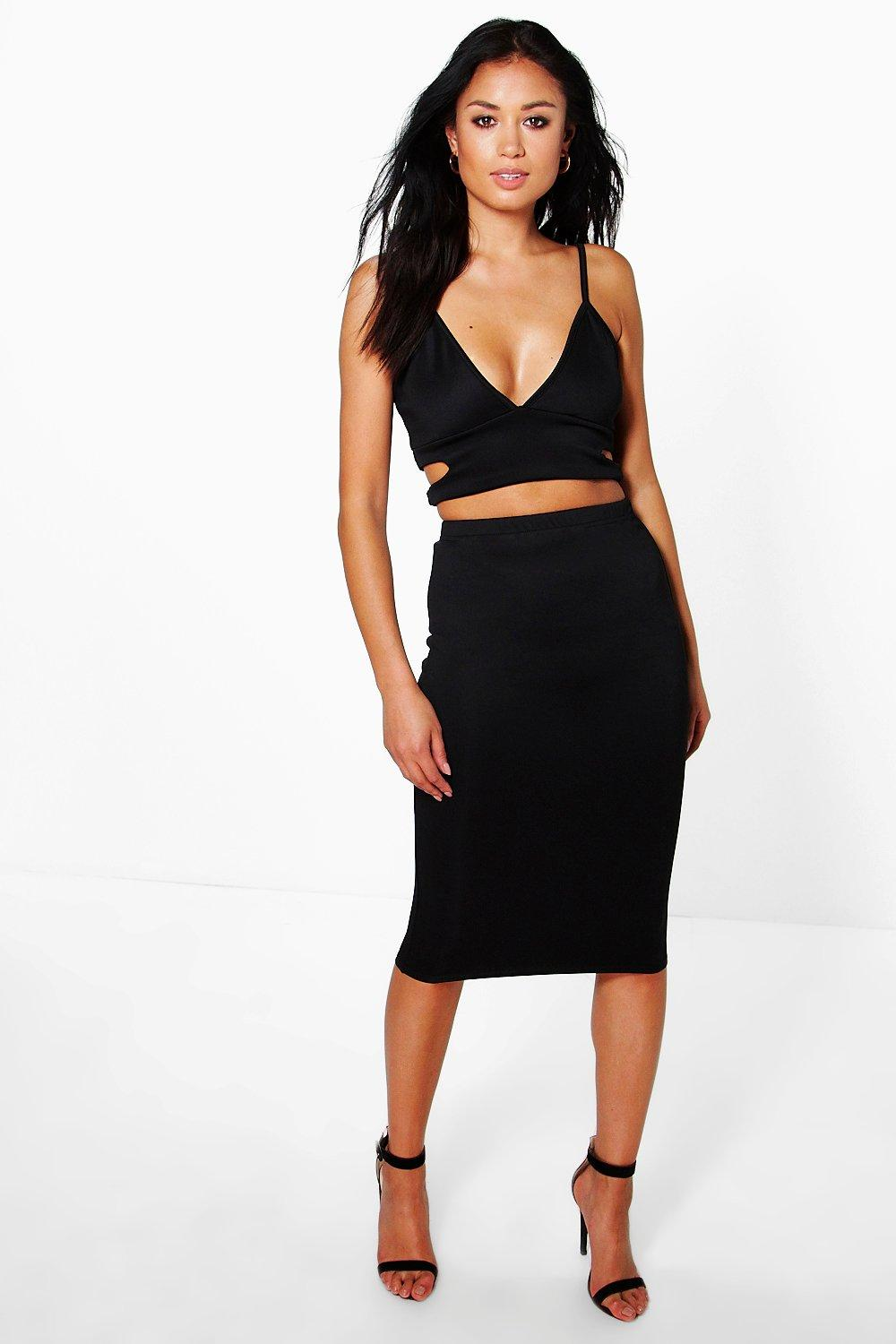 Cut Out Side Bralet And Midi Skirt Co-Ord black