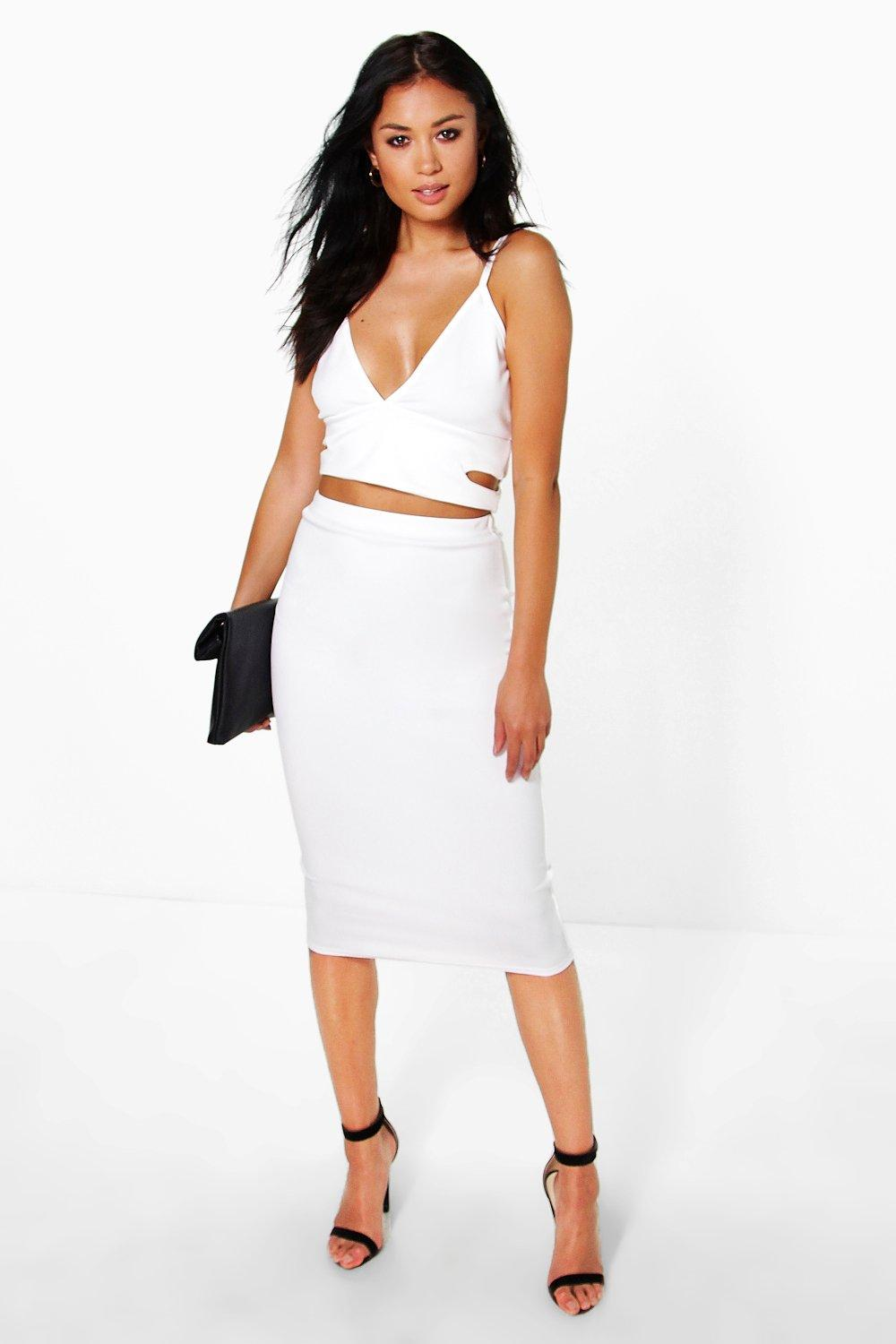 megan cut out side bralet and midi skirt co ord boohoo