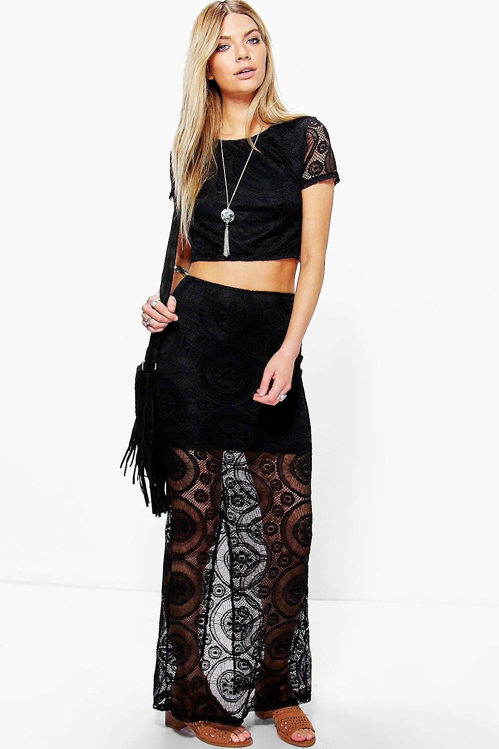 Boutique Lace Crop And Maxi Skirt Co-Ord black