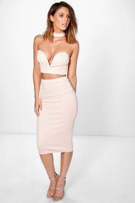 Lara Neck Band Bodice Crop And Midi Skirt Co-Ord