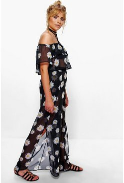 Tia Daisy Print Sheer Crop And Wide Leg Trouser Co-Ord Set