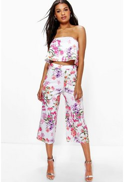 Sally Floral Print Bandeau And Culottes Co-Ord
