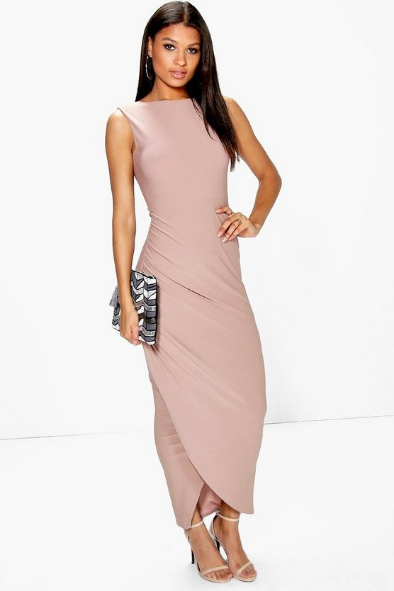 Tia Open Back Wrap Detail Maxi Dress